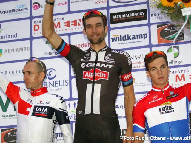Profronde Steenwijk - podium vlnr 2e Stef Clement - 1e Albert Timmer - 3e Dylan Groenewegen